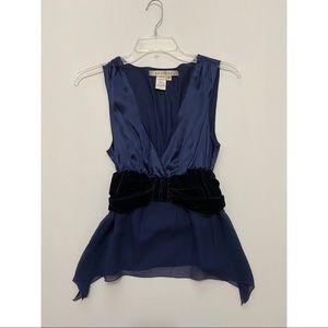 Studio M Blue 100% Silk Sleeveless Dressy Shirt